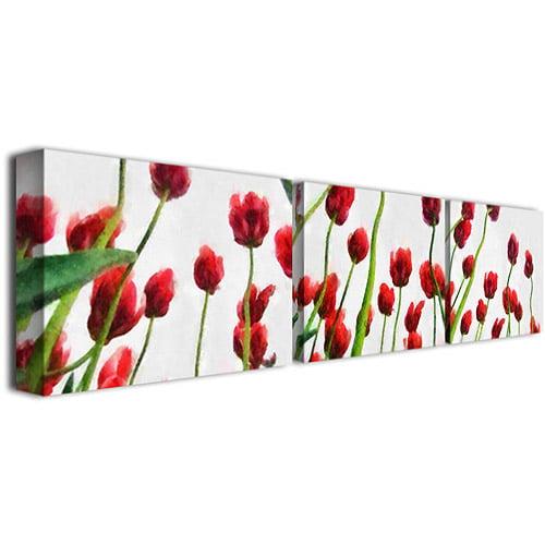 "Trademark Fine Art ""Red Tulips from Bottom Up"" Three Canvas Wall Art"