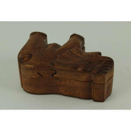 Hand Carved Wooden Elephant Trinket Puzzle Box