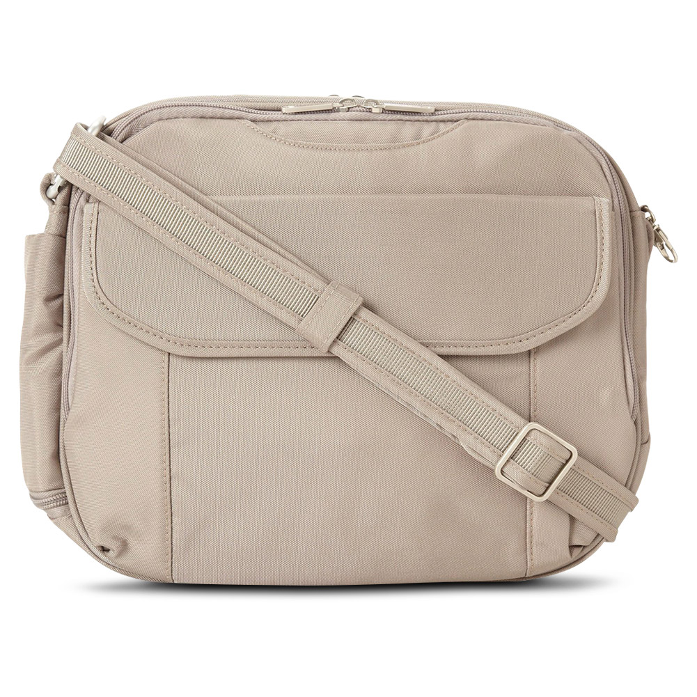 Travelon Unisex Anti-Theft Classic Messenger Bag w/ RFID Blocking, Stone