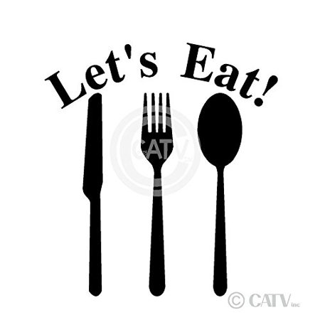 Let's Eat Knife Fork And Spoon wall saying vinyl lettering art decal quote sticker home decal (Black)
