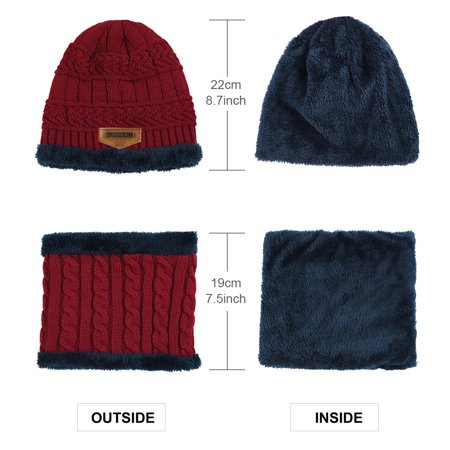 91f171689d9 Allcaca - Kids Winter Hat-Allcaca 2 Pieces set Kids Winter Knitted Hat Set  Girls Boys Winter Warm Hat and Circle Scarf with Fleece Lining - Walmart.com