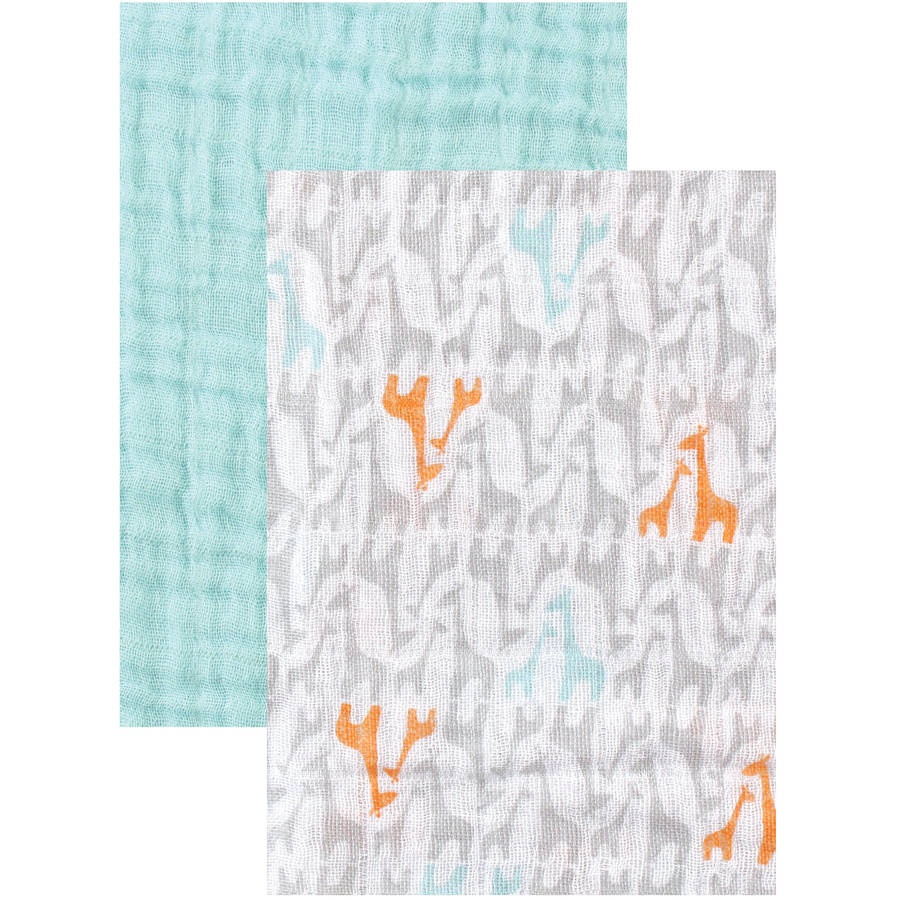 Yoga Sprout 2pk, Muslin Swaddle Blankets, Teal Giraffe