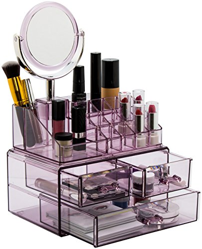 Sorbus Acrylic Cosmetic Makeup Organizer with Makeup Mirror , Jewelry  Storage Case and Removable double sided 3X/1X Magnification Mirror ,  Spacious