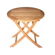 """30"""" Natural Teak Round Outdoor Patio Wooden Balcony Folding Table"""