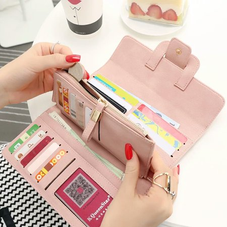 Women Fashion PU Leather Phone Wallet Bag Trifold Button handBag Card Holder for for under 5inch Cellphone - image 2 de 9