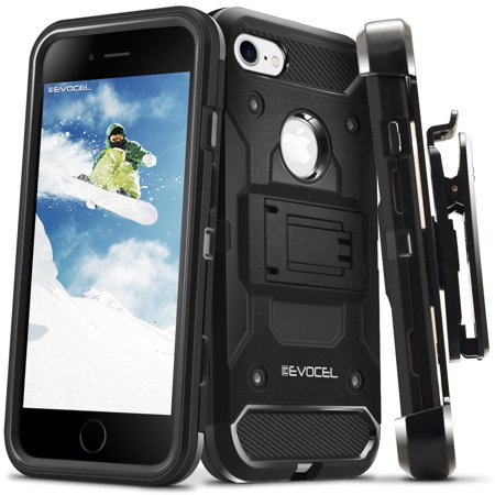 (iPhone 7 / iPhone 6 Case, Evocel [Belt Clip Holster] [Kickstand] [Tri Layer] [Textured Body] Trio Pro Series Phone Case for iPhone 7, Black)