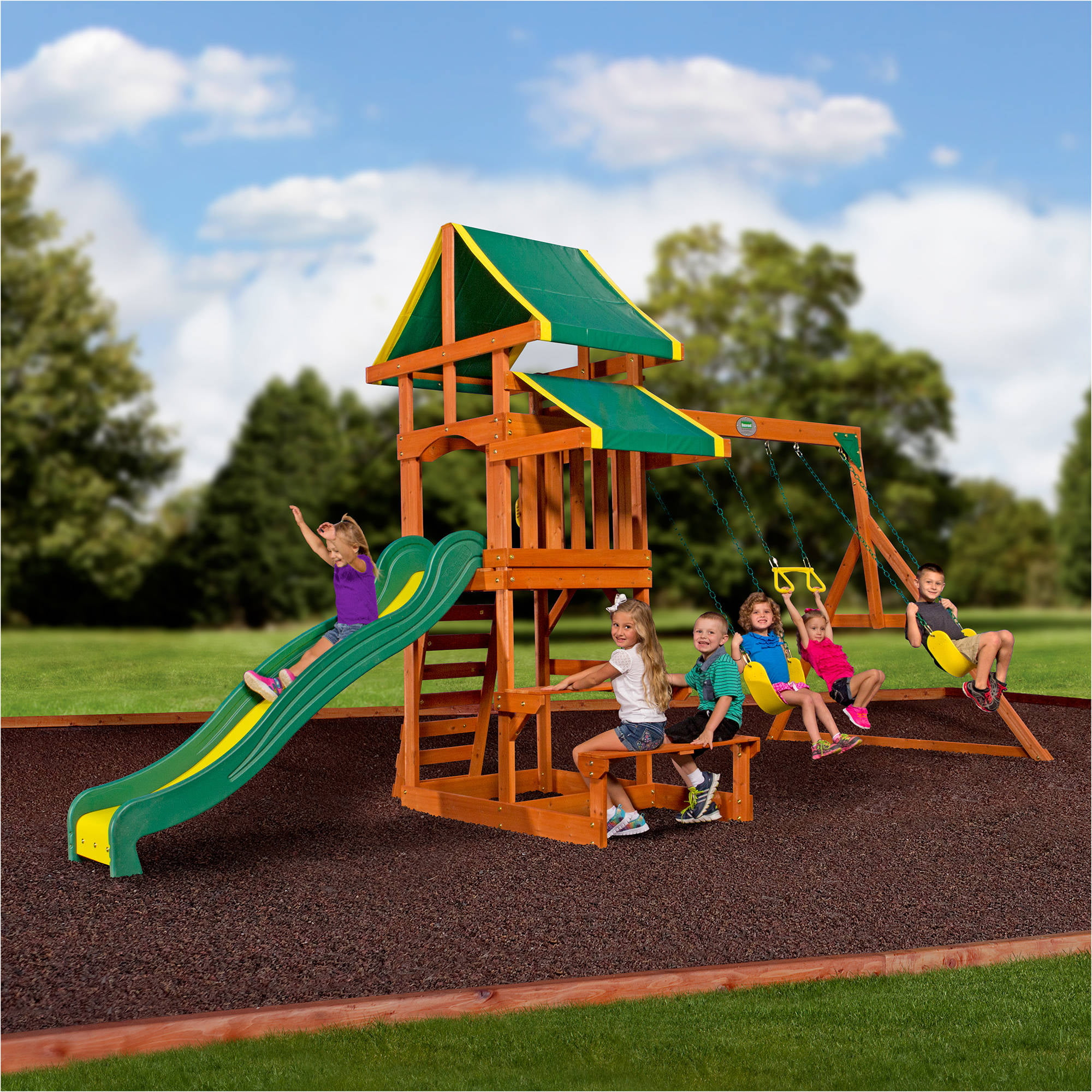 Backyard Discovery Tucson Cedar Wooden Swing Set Walmart