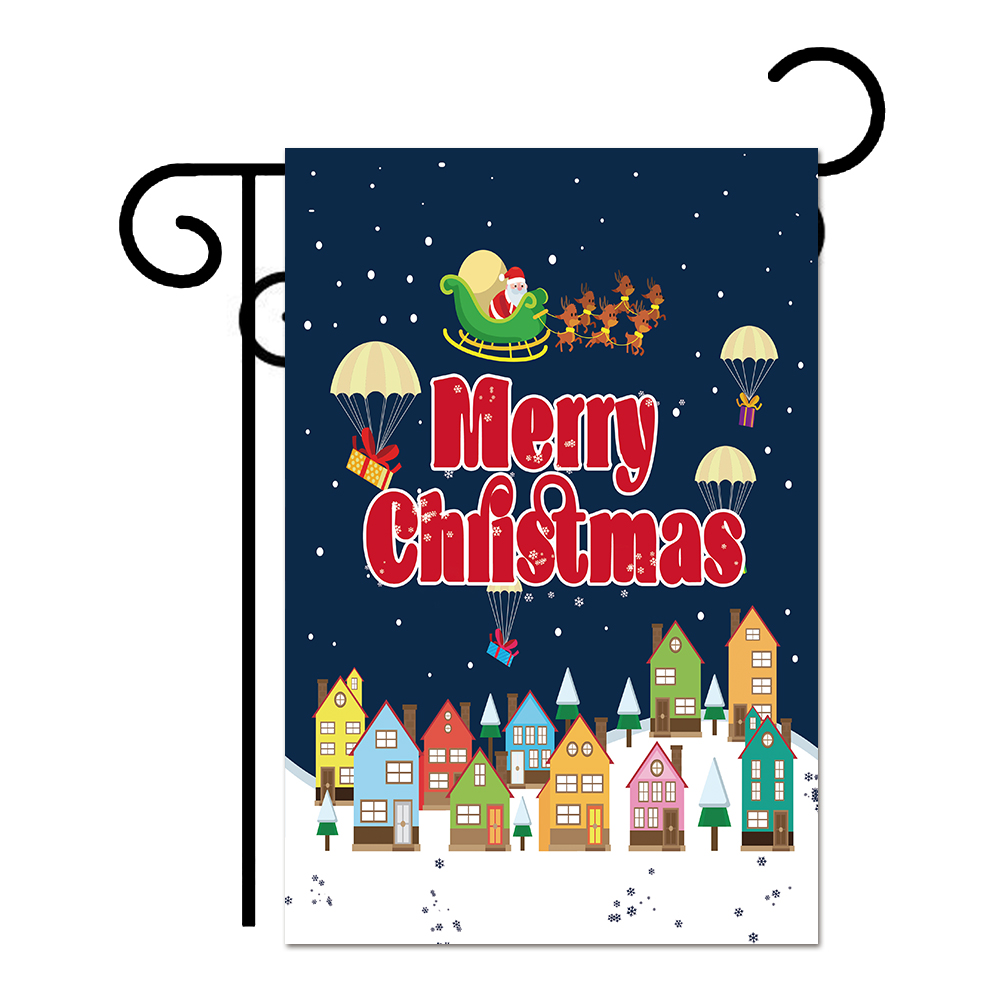 Tayyakoushi Merry Christmas Garden Flag Holiday Decor Happy New Year Flag 12*18inch