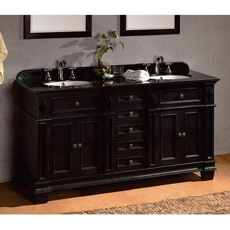 Double Sink Vanity Top (OVE Decors  60-inch Eliza Double Sink Bathroom Vanity with Granite)