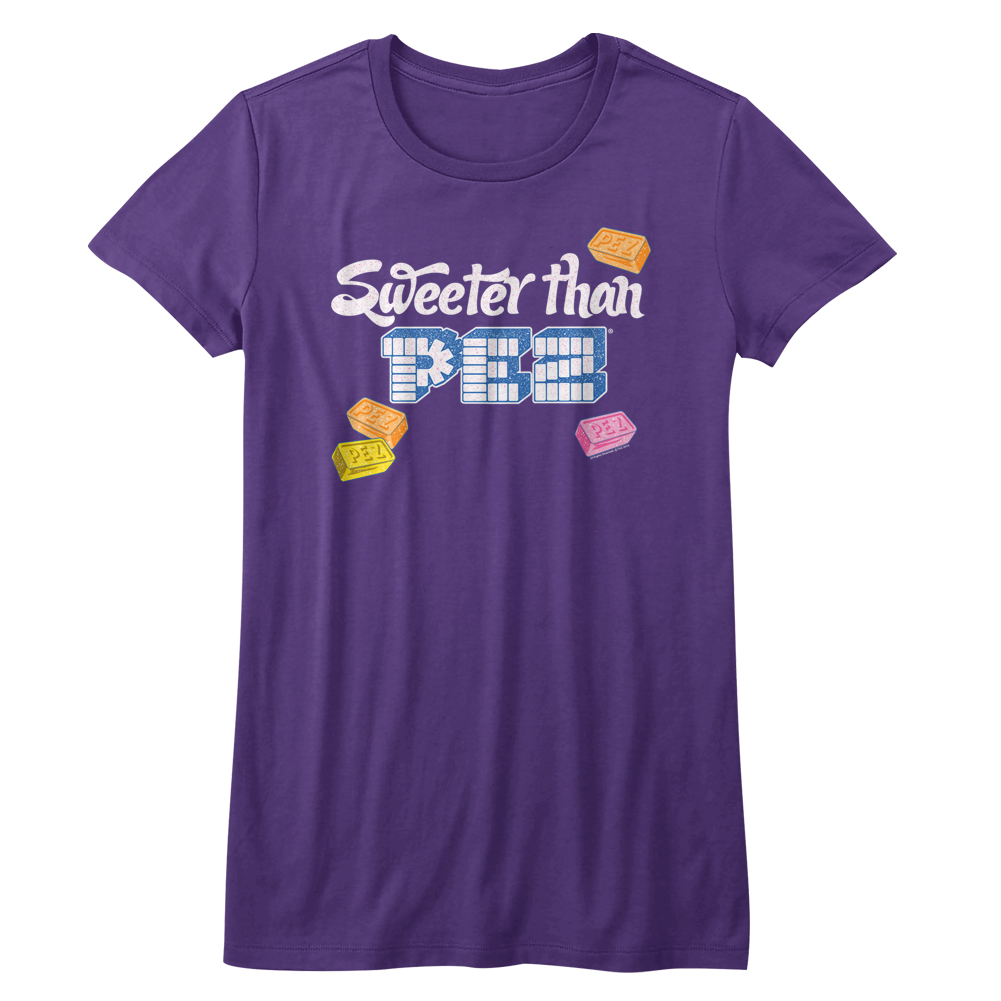 PEZ Brick Candy With Dispensers Pop Culture Sweeter Than Juniors T-Shirt Tee