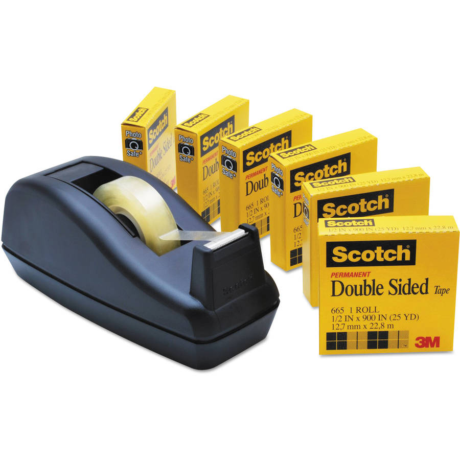 """Scotch 665 Double-Sided Tape with C40 Dispenser, .5"""" x 900"""", 6 Clear Rolls"""