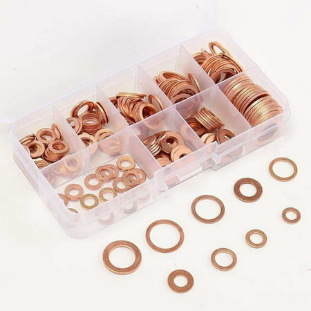 200pcs Copper Washer Gasket Nut and Bolt Set Flat Ring Seal Assortment Kit with box M5-M14 Electrical Woodworking Washers Sets