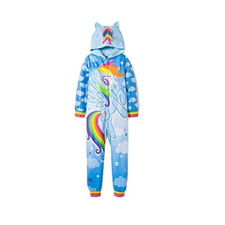 My Little Pony Girls' All Ponies Rainbow Hooded Union Suit Pajamas - Rainbow Morphsuit