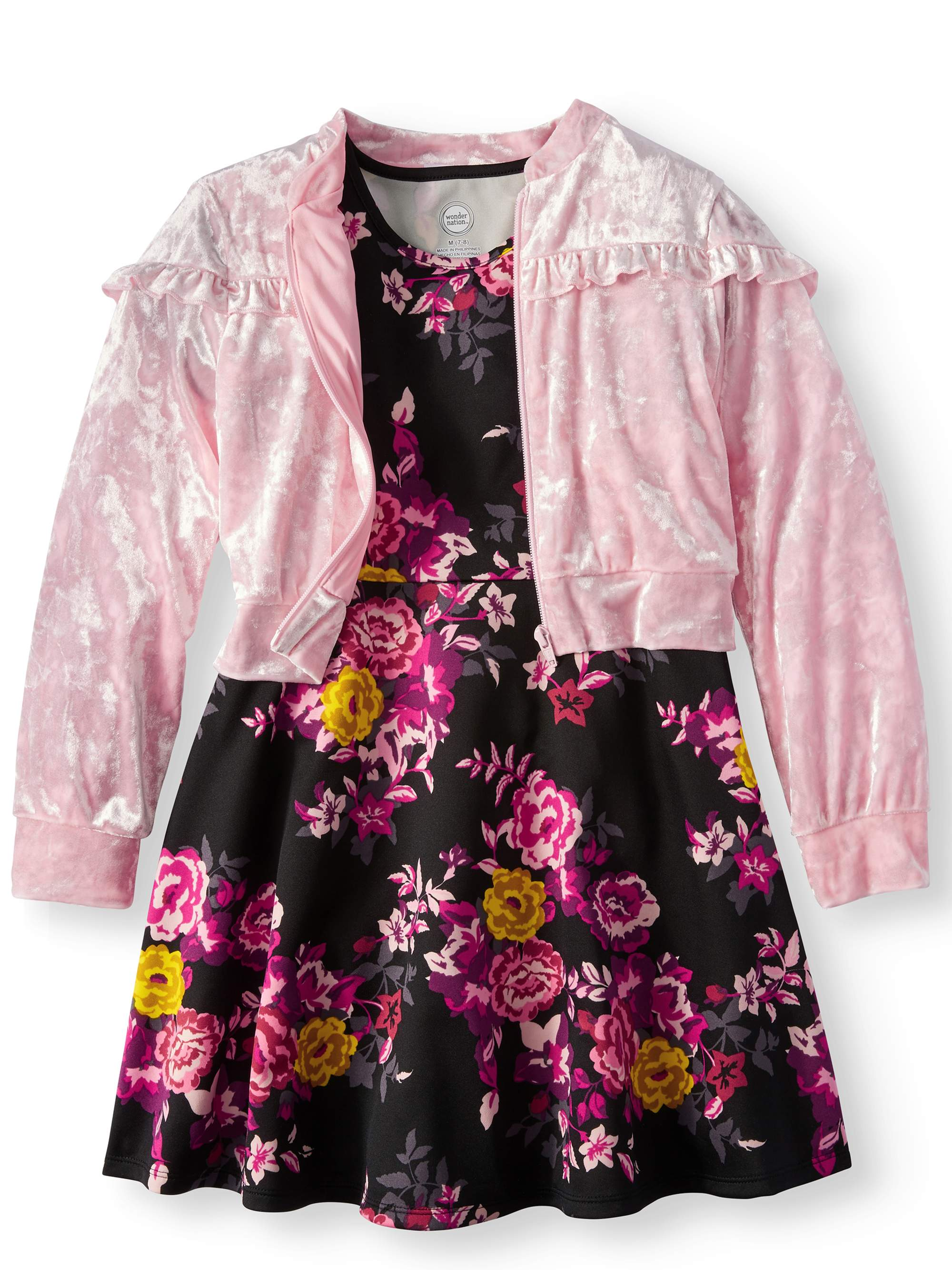 Dress and Ruffled Bomber Jacket, 2-Piece Outfit Set (Little Girls & Big...