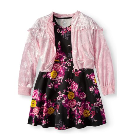 Dress and Ruffled Bomber Jacket, 2-Piece Outfit Set (Little Girls & Big Girls) - Casual Dresses For Girl