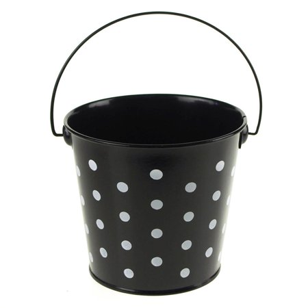Polka Dot Metal Pail Bucket Party Favor, 5-Inch, Black - Polka Dot Party Ideas