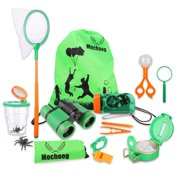 Mochoog Outdoor Explorer Kit for Kids - STEM Educational Exploration Bug Catcher - Binoculars, Flashlight, Compass, Magnifying Glass, Butterfly Net etc, Gift Set for Backyards Camping Hiki