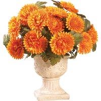 Collections Etc Floral Mum Bushes - Set of 3 ORANGE