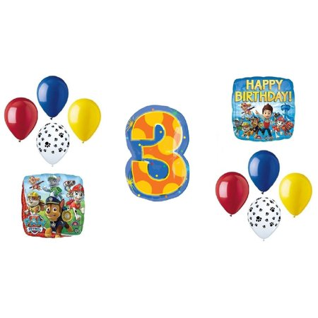 PAW Patrol 3rd Happy Birthday Balloon Decoration Kit(8) 11 Latex Balloons, (2) Paw Print, (2) Red Plain, (2) Yellow Plain, and (2) Blue Plain. By DalvayDelights - Plain Pinata