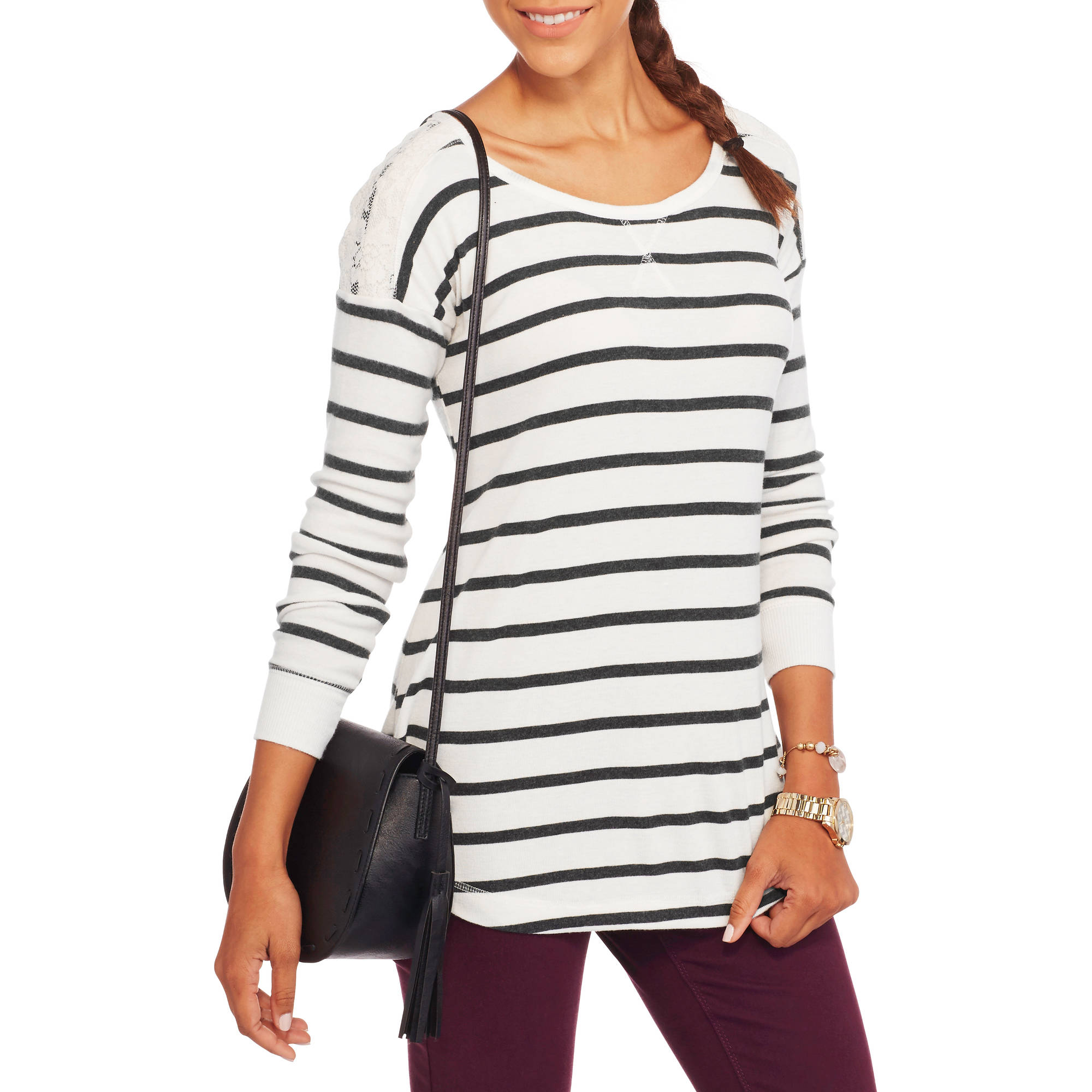 French Laundry Women's Ribbed Tunic with Lace Trim
