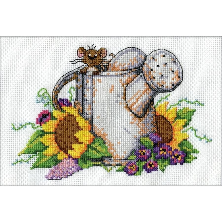 "Watering Can Mouse Mini Counted Cross Stitch Kit, 5"" x 7"", 14-Count"