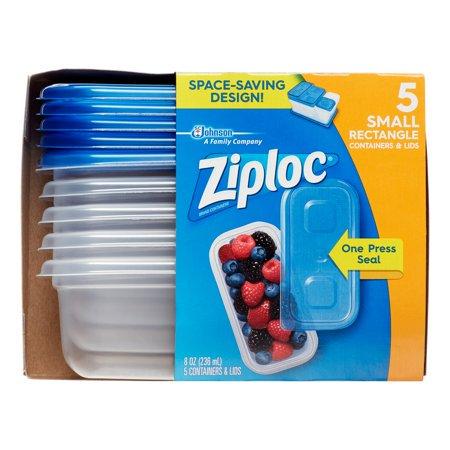 4 Pack Ziploc Food Storage Containers Rectangular 8 Oz