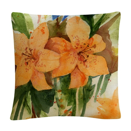 Auburn Tigers Throw Pillow - Tiger Lilies' Orange Modern By Sheila Golden 16 X 16 Decorative Throw Pillow