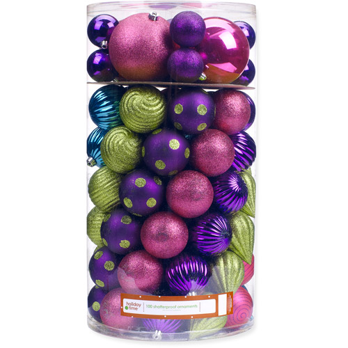 Holiday Time 120/80/70/60mm Round Teal/Green/Purple Shatterproof Christmas Ornaments, Set of 100