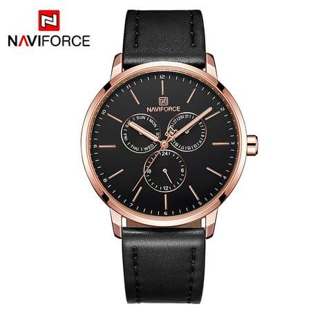 NAVIFORCE - NAVIFORCE NF3001 Men Watch Brand Sport Quartz Watches Hour Date Day Pointer Luminous Military Army Business Leather Wrist Watch - Walmart.com
