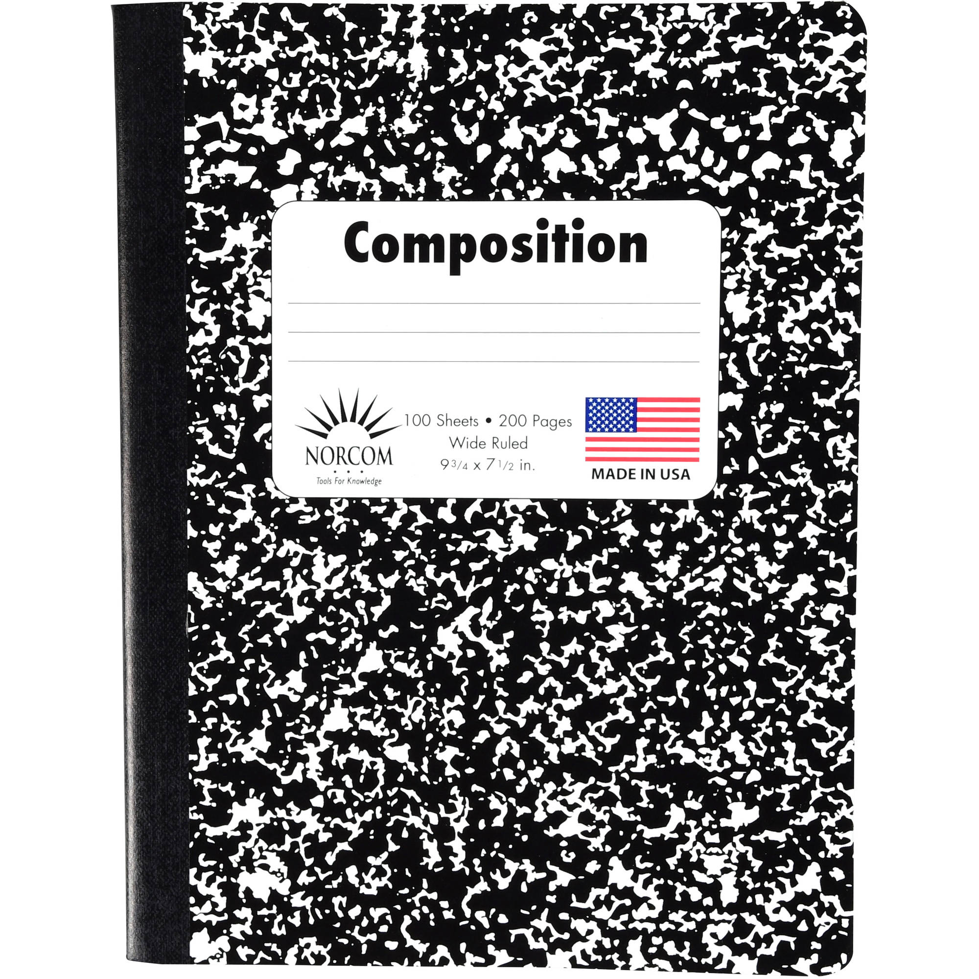 Black and White Composition Book, Wide Ruled, 9.75  x 7.5 , 100 Sheet