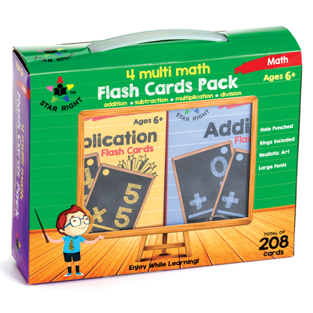 Star Right Multi Math Flash Cards, Set of 4 - Multiplication, Addition, Division, Subtraction - Value Pack Flash Cards with Rings for Pre K - K (Math Subtraction Flash Cards)