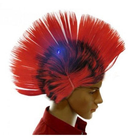 Dazzling Toys Wiggling Punk Blinking LED, Red and Colored Wig. One per pack. (Blinking Toys)