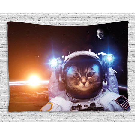 Space Cat Tapestry  Kitten In Space Suit Sun Lunar Eclipse Over Planet Stars Image  Wall Hanging For Bedroom Living Room Dorm Decor  60W X 40L Inches  White Orange And Dark Blue  By Ambesonne