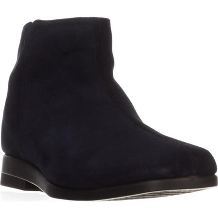 Womens Aerosoles Double Trouble 2 Flat Ankle Boots, Navy Suede