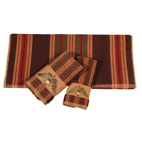 HiEnd Accents Embroidered Acorn Stripe 3 Piece Towel Set