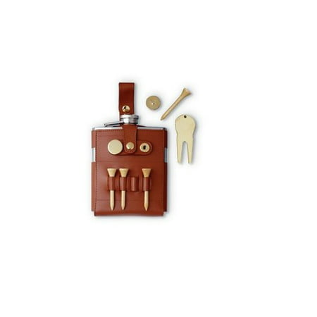 Visol Products GB Leather Wrap Hip Flask and Golf Tools Leather Wrap Flask