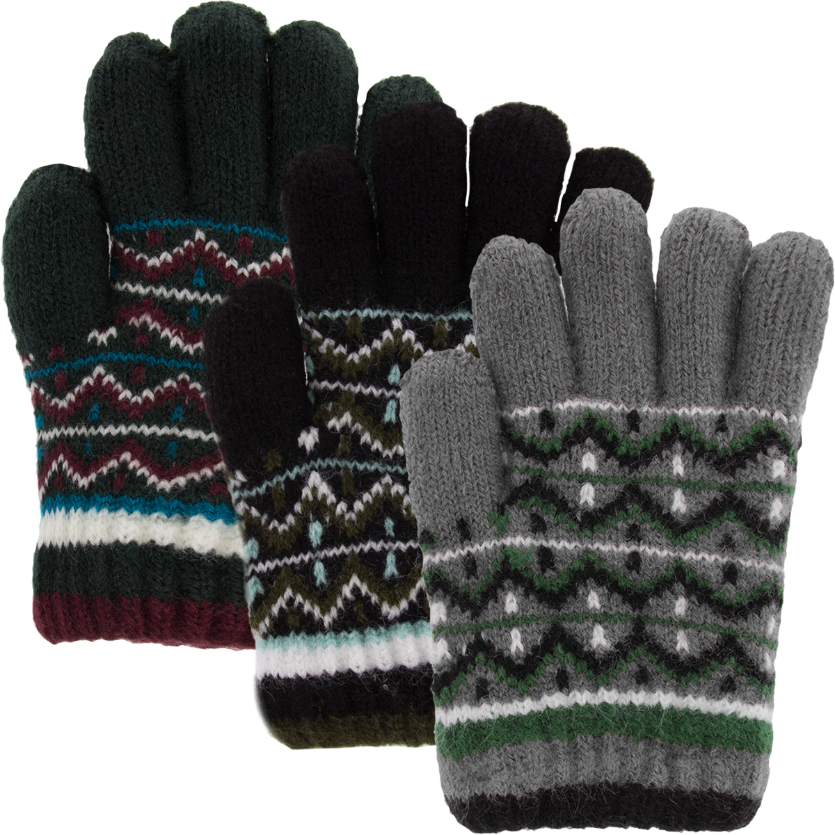 Classic Fashion (3 Pairs) Boys Winter Gloves, Acrylic Kids Gloves With Soft Warm Knitted... by