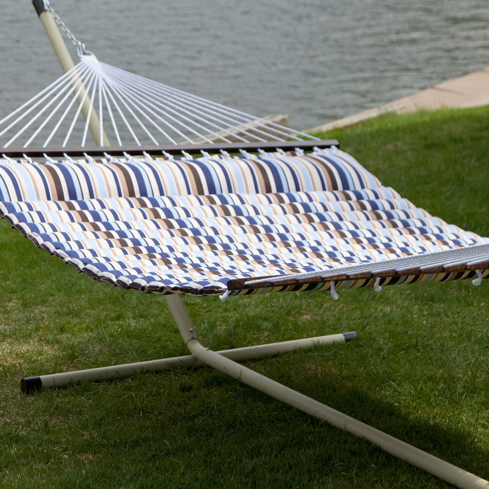 Island Bay 13 ft. Seaside Pillow Top Quilted Hammock with Stand