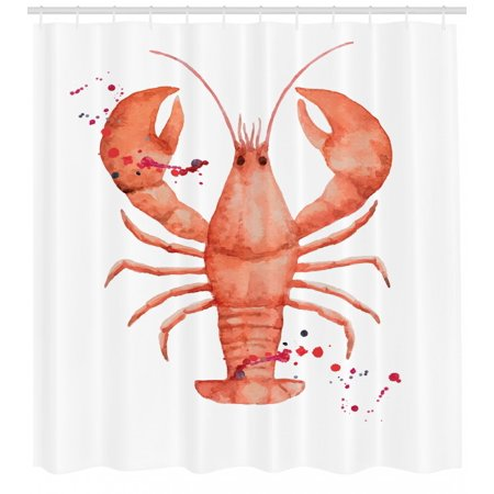 Lobster Shower Curtain Fresh Organic Gourmet Seafood Theme Splattered Watercolor Style Fabric Bathroom