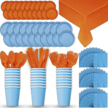Paper Tableware Set For 24 Light Blue Amp Orange Dinner