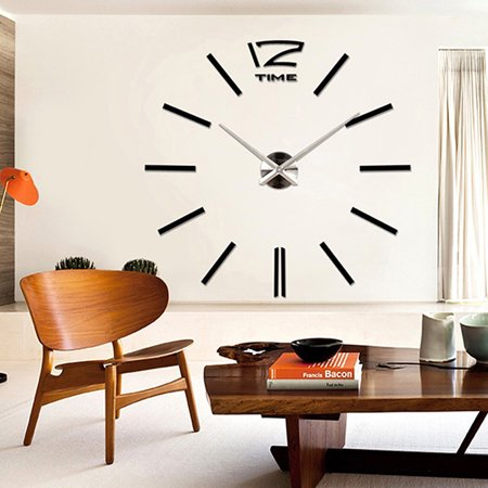 DIY Large 3D Number Mirror Wall Sticker Art Clock Modern Home Living Room Decors Black ()