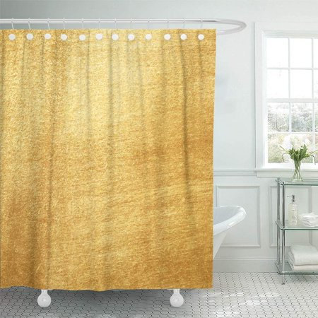PKNMT Golden Shiny Yellow Leaf Gold Abstract Alloy Border Brass Bright Bronze Brushed Shower Curtain Bath Curtain 66x72 inch