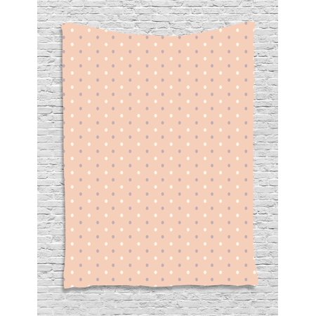 Pink Decor Tapestry, Romantic Vintage Classic 50s 60s Style Image with Dots Pattern Print, Wall Hanging for Bedroom Living Room Dorm Decor, 40W X 60L Inches, Salmon Lilac and White, by Ambesonne - 50's Style Home Decor