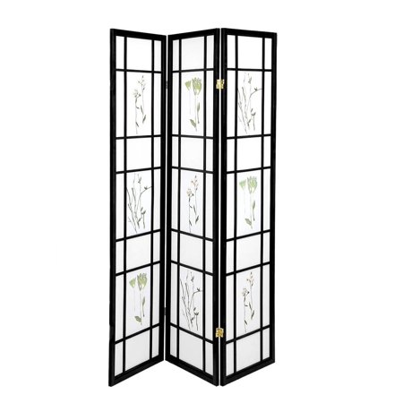 Oriental Room Divider Curtains Hardwood Shoji Panels Screen 3 Panel Small Flowered-Black