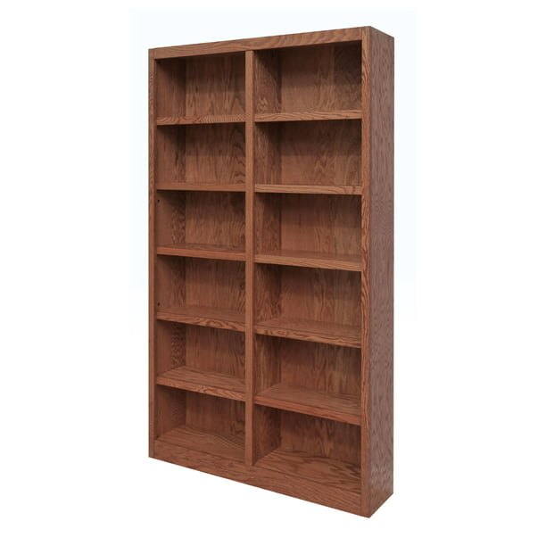 Concepts in Wood 12 Shelf Double Wide Wood Bookcase, 84 inch Tall - Oak Finish