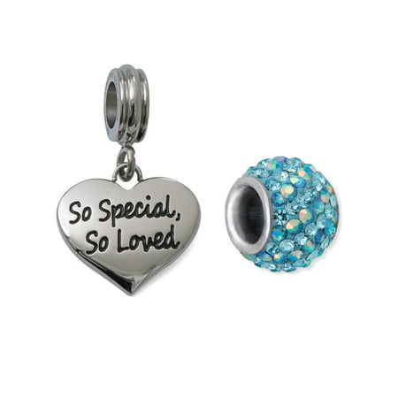 Crystal Stainless Steel So Special, So Loved Heart Charm Set