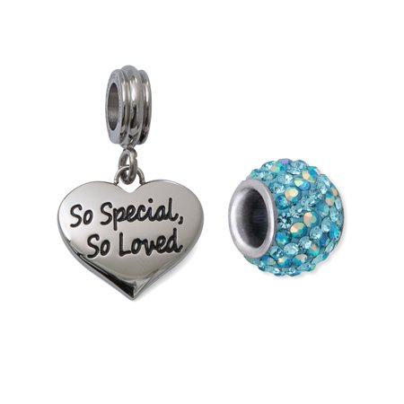 Striped Heart Charm (Crystal Stainless Steel So Special, So Loved Heart Charm Set)