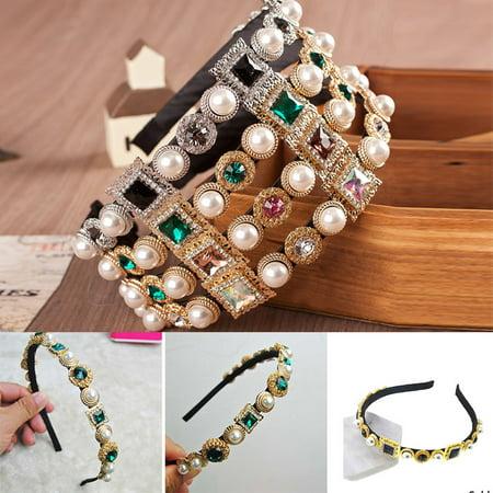 Diamond Jewel Gems Pearl Headband Hair Band Girl Ladies Headwear Holidays (Gem Hair Band)