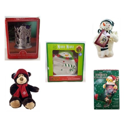 Christmas Fun Gift Bundle [5 Piece] - Home For The s Snowman Votive Holder - Woodniks