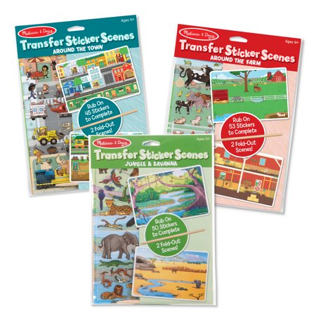 Melissa & Doug Rub-On Transfer Sticker Scenes 3-Pack - Around the Farm, Town, Jungle And Safari](Safari Craft Ideas)